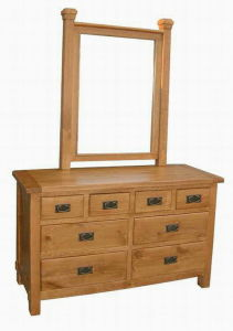 Oak Nature Color Wooden Vanity Make up Dressing Table with Mirror pictures & photos