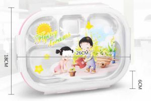 304/18-8 Stainless Steel Divided Tray Lunchbox for Kids pictures & photos