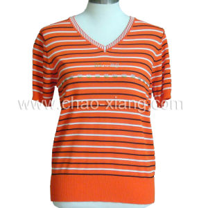 Lady′s Rayon&Nylon Knitwear with Short Sleeves (CX-S-001S)