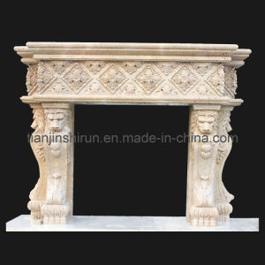 Stone Carving Fireplace with Lion Sculpture (FRP521) pictures & photos