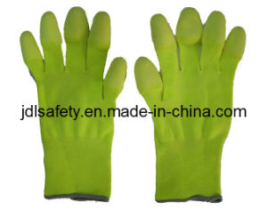 Hi Viz Yellow Work Glove with PU Finger Coated (PN8019) pictures & photos