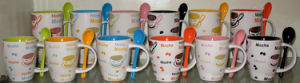 Ceramic Coffee Cup and Spoon Set (MUG81117, 81118)