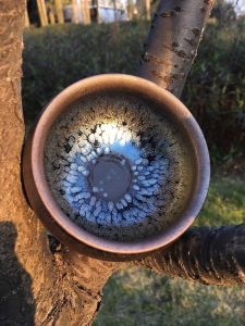 Contemporary Chawan Bowl with Brownish Tenmoku Glaze