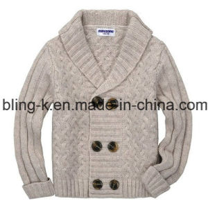 Ruffled Collar Pure Colour Knitted Cardigan for Children
