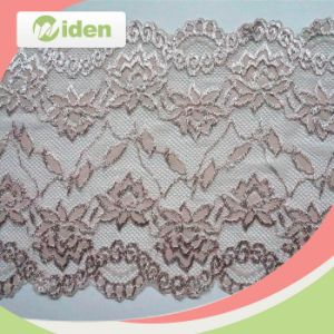 Popular Wholesale Chiffon Rose Flower Lace Scalloped Gold Stretch Lace pictures & photos