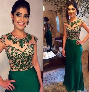 Beaded Prom Party Gowns Cheap Green Chiffon Bridesmaid Dresses Z3044 pictures & photos