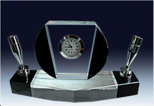 Crystal Glass Pen Holder with Clock pictures & photos