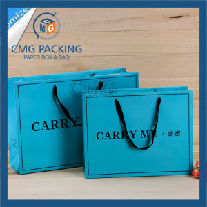 Printed Blue Shopping Bag with Black Printing and Wide Satin Handle (CMG-MAY-041) pictures & photos
