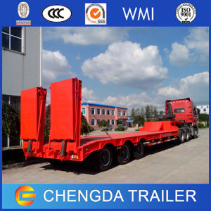3 Axles 60 Tons Lowbed Trailer with Hydraulic Ramp pictures & photos
