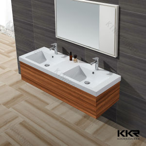 Design White Solid Surface Cabinet Wash Basin for Sale pictures & photos