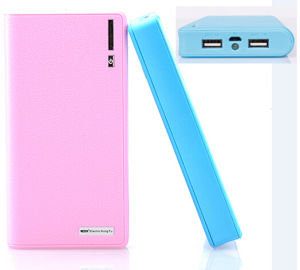 Wholesale Portable 20000mAh Mobile Power Bank with Two Output & LED Light