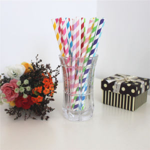 Green Chevron Disposable Products 6*195mm Paper Drinking Straw pictures & photos