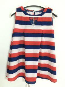 New Horizontal Stripe Sleeveless Round Neck Casual Versatile Korea Top