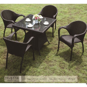 All Weather Outdoor Garden Aluminum furniture Rattan Dining Table and Chair Set