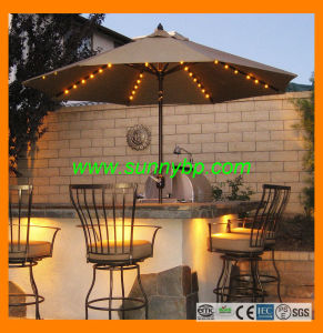 No UV and IR Solar Beach Parasols with LED Lights pictures & photos