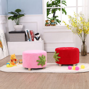 Coral Velvet Upholstered Foot Stool Ottoman pictures & photos