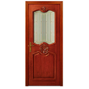 Oppein Classic Interior Solid Wooden Swing Door with Glass (MSSD04) pictures & photos