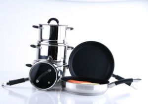 W1016 10-Piece Classic Stainless Steel Cookware Set with Glass Lid pictures & photos