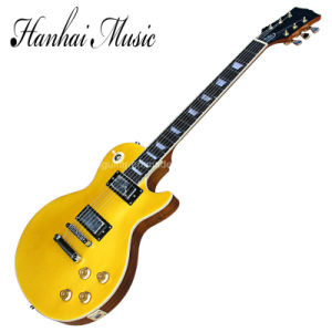Hanhai Music / Yellow Lp Style Electric Guitar with Gold Hardware pictures & photos