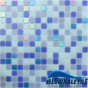 Frozen Blue Mixed Glossy Melting Glass Mosaic Design for Residential Pool