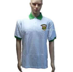 Jersey White Polo Shirt with Green Collar and Embroidery Logo pictures & photos