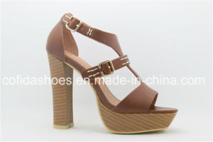 Good Quality Comfort Square Heel PU Ladies Sandal pictures & photos