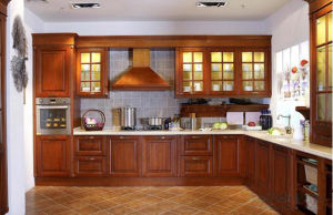 American Kitchen Furniture Solid Wood Brown Kitchen Cabinet Made in China pictures & photos