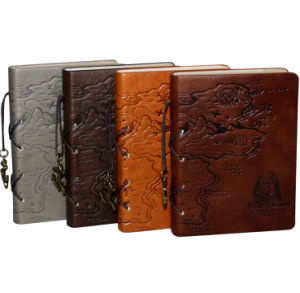 Embossed Sea Rover Mape Leather Notebooks pictures & photos