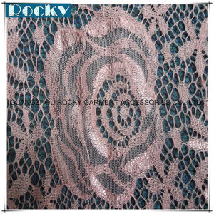 Pink Flower Garment Accessories Elastic Lace Fabric Nylon Lace pictures & photos