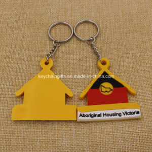Promotion Custion 2D House Shaped PVC Keychain Rubber Keychain pictures & photos