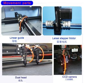 CCD Auto Positioning Dual Head Fabric Labels Woven Patch CO2 Laser Cutting Machine pictures & photos