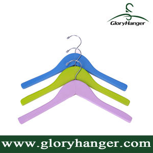 Factory Price Flat Wooden Children Hanger with Bent-End Hook pictures & photos