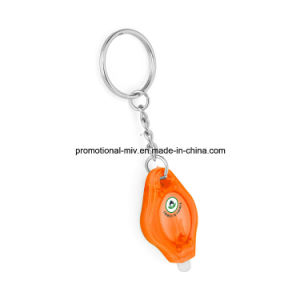 Promotional New Fashion Plastic Keychains with LED Flashlight pictures & photos