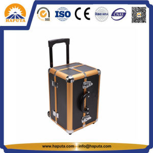 Gold & Black Aluminum Trolley Cosmetic Makeup Case (HB-3332) pictures & photos