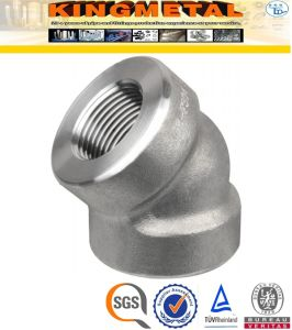 F304/316 Stainless Steel Pipe Fittings 45 D Threaded Elbow pictures & photos