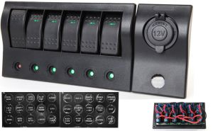 for 15A Marine Boat 6 Gang Rocker Switch Panel Plus Cigarette Socket Switch Panel pictures & photos