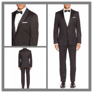 OEM Factory Price Customized Satin Lapel Men′s Black Tuxedo Suit pictures & photos