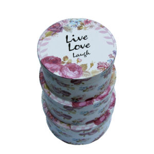 Flower Slogan Printing Paper Round Gift Box Set / Quality Round Packing Display Boxes pictures & photos