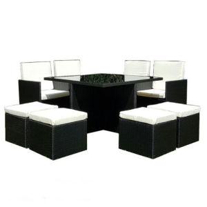 Practical Black PE Rattan Garden Dining Cube Set pictures & photos
