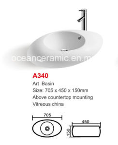 Ceramic Wash Basin (No. A340) Oval Round Art Basin pictures & photos