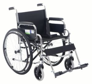 Lifted Armrest and Footrest Chrome Steel Wheelchair