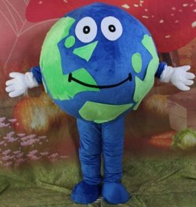 with Mini Fan Green and Blue Earth Mascot Costume for Adult