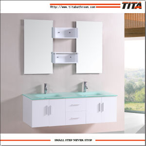 Tempered Glass Basin Bathroom Cabinet for Two Persons T9001j pictures & photos