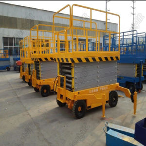 Aerial Man Trailer Mobile Scissor Lift Platform with Four Supporting Wheels pictures & photos
