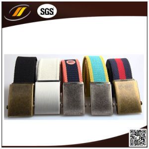 Men Customized Logo Canvas Waist Belt with Metal Buckle (HJ15097)