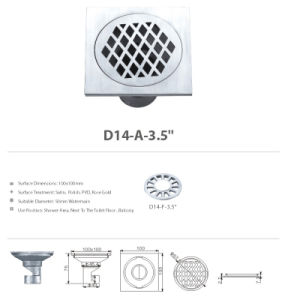 Stainless Steel Bathroom Hardware Floor Drain (D14-A-3.5′′) pictures & photos