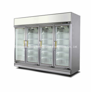 Four Glass Door 2000L Upright Commercial Supermarket Beverage Display Freezer pictures & photos