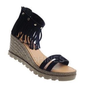 Black Ladies Fashion High Heel Sandal with Tassels