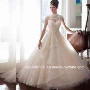 Lace Corset Wedding Dress Tulle High-Neck Bridal Wedding Gown Wd1535 pictures & photos
