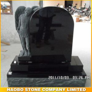 Shanxi Black Granite Headstone/Monument with Base with Carving pictures & photos
